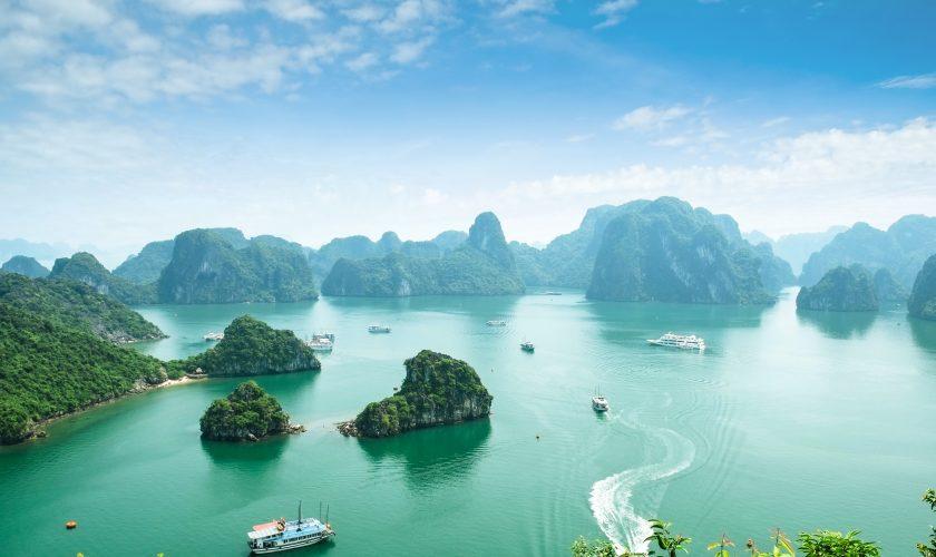 Halong Bay in Vietnam. Unesco World Heritage Site.