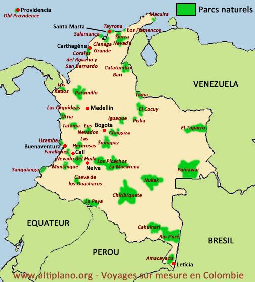 Carte Amerique Du Sud Colombie.Les Parcs Naturels De Colombie