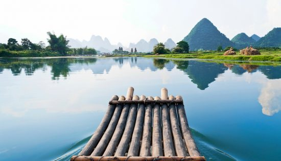 Bamboo rafting in Li River