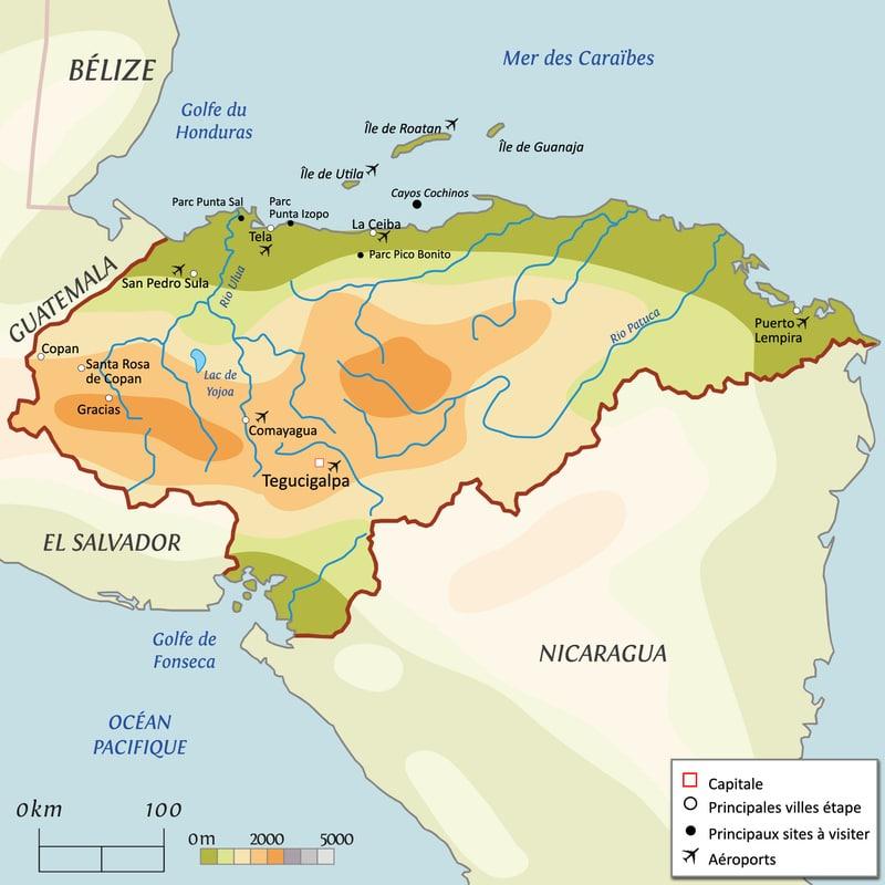 carte-honduras-amerique centrale