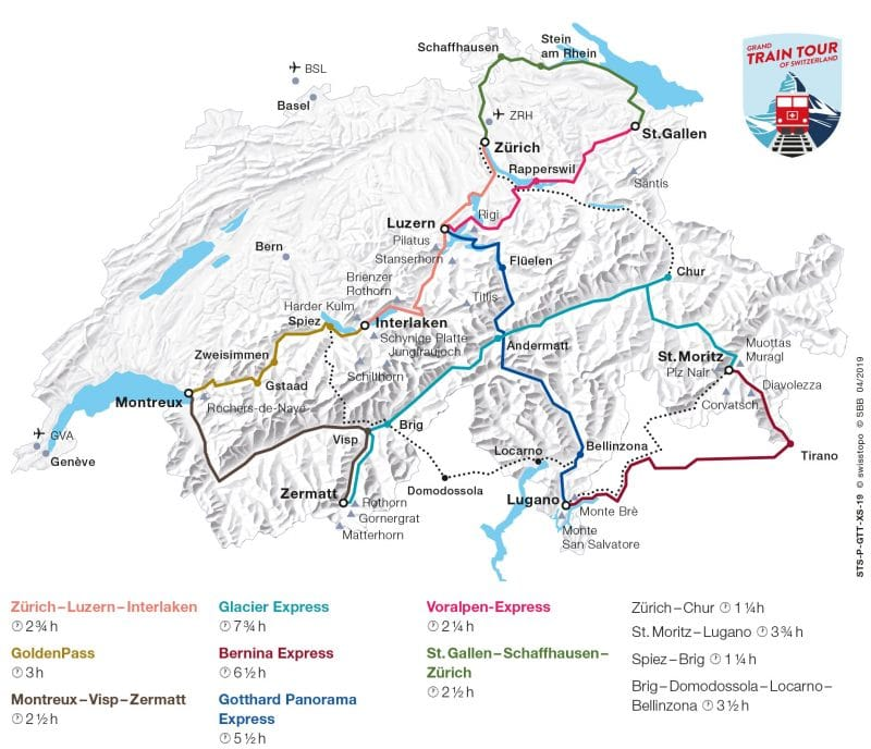 carte trains en Suisse